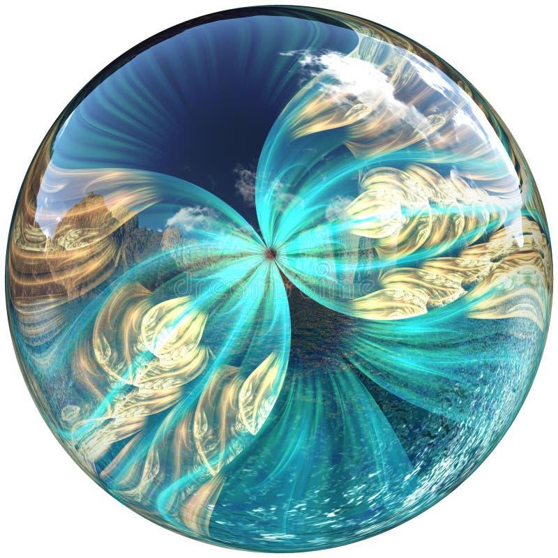 bouton 3D brillant avec le papillon coloré de fractale illustration libre de droits