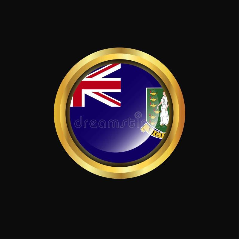 Bouton d'or de drapeau BRITANNIQUE des Îles Vierges illustration libre de droits