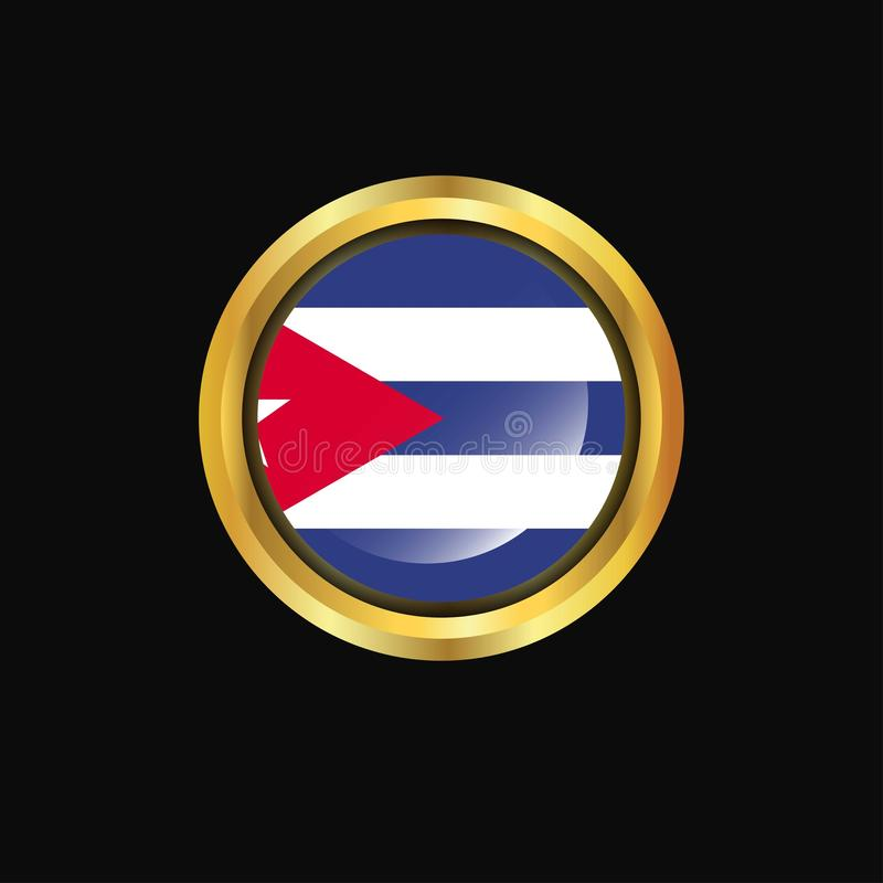 Bouton d'or de drapeau du Cuba illustration stock