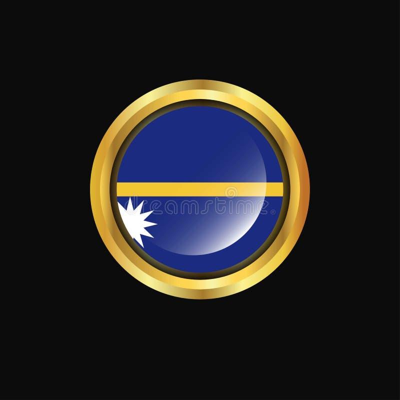Bouton d'or de drapeau du Nauru illustration stock
