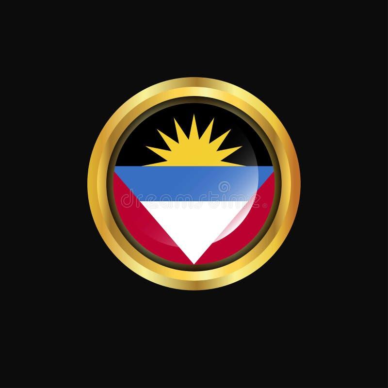 Bouton d'or de drapeau de l'Antigua-et-Barbuda illustration stock