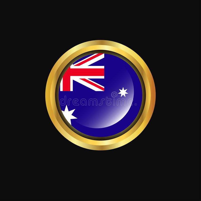 Bouton d'or de drapeau de l'Australie illustration stock