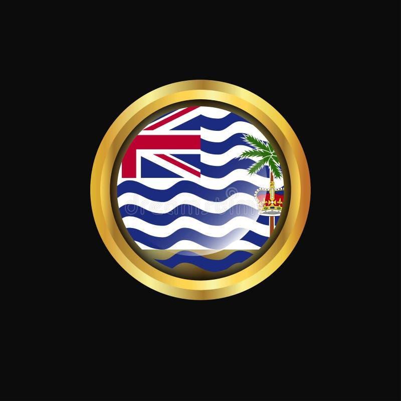 Bouton d'or de drapeau de territoire d'Océan Indien britannique illustration libre de droits