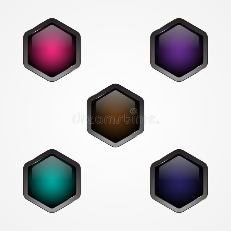 Bouton d'hexagone de vecteur de scénographie pour l'icône de bouton de Web illustration stock