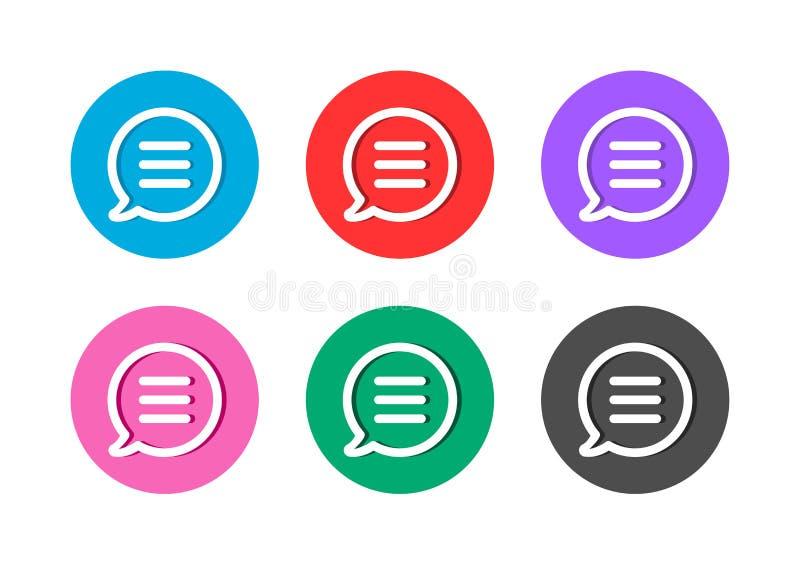 Bouton d'icône de message de bulle de la parole de causerie illustration de vecteur