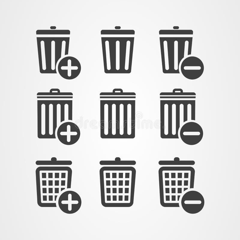 Bouton d'icône de poubelle de panier de conception graphique de vecteur illustration stock