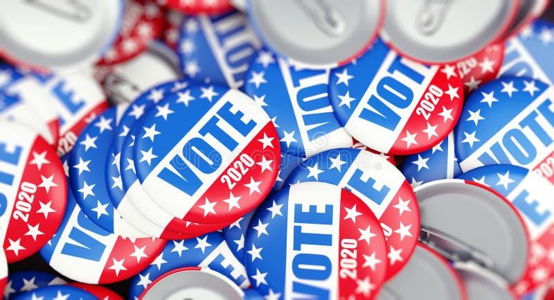 Bouton d'insigne d'élection de vote pour 2020 le fond, vote Etats-Unis 2020, 3D illustration, rendu 3D illustration stock