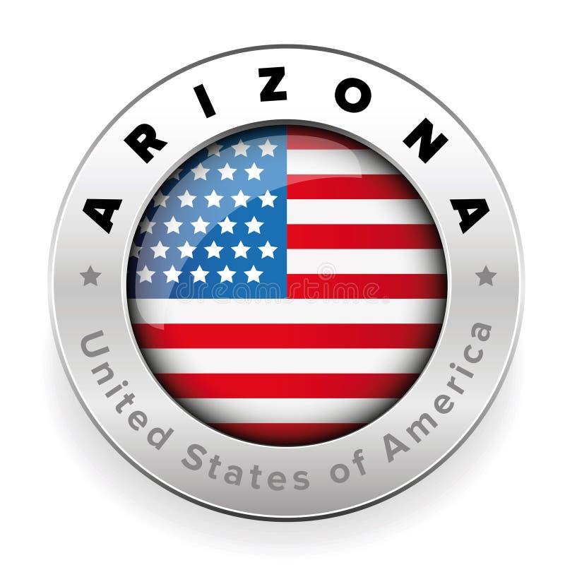 Bouton d'insigne de drapeau de l'Arizona Etats-Unis illustration stock