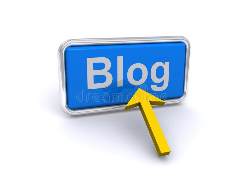 Bouton de blog avec la flèche photos libres de droits