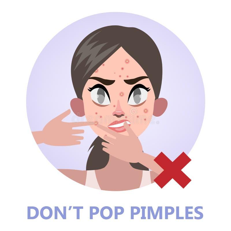 Bouton de bruit de femme sur le visage d'acné illustration de vecteur
