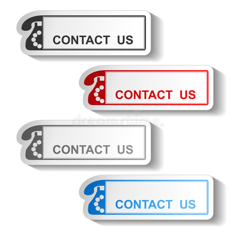 Bouton de contactez-nous - conception de rectangle avec le vieux téléphone illustration stock