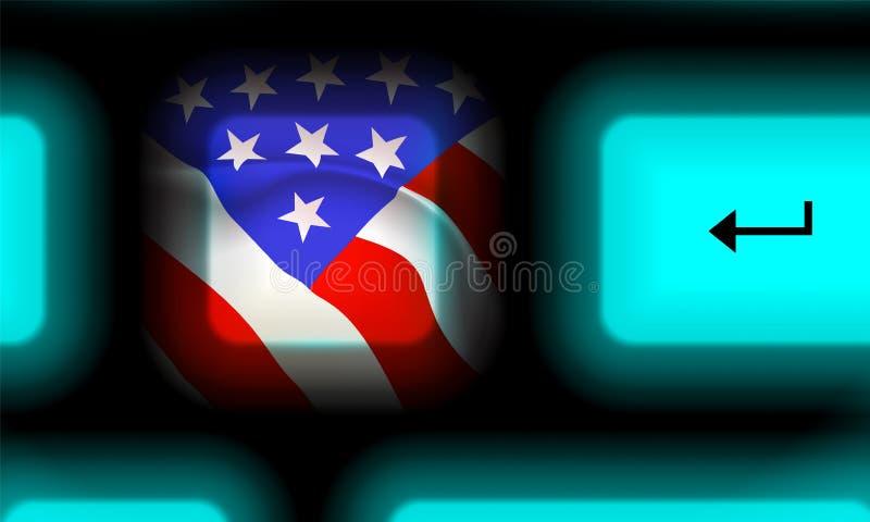 Bouton de drapeau américain dans le clavier d'ordinateur au néon sur le fond noir Vers le haut du voyage étroit Etats-Unis Concep illustration stock