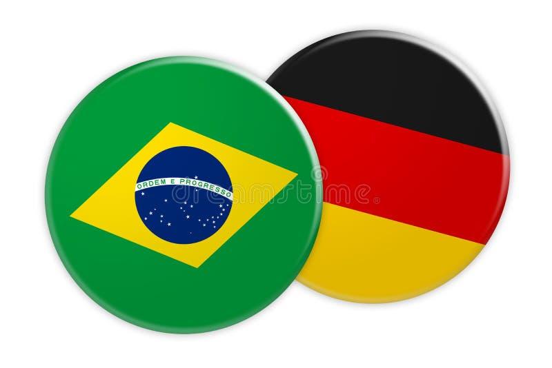 Bouton de drapeau du Brésil sur le bouton de drapeau de l'Allemagne, illustration 3d sur le fond blanc illustration stock