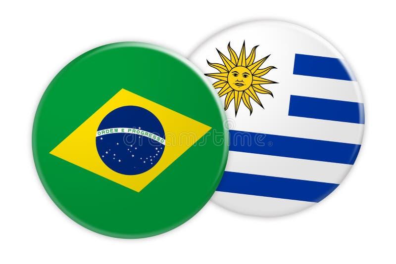 Bouton de drapeau du Brésil sur le bouton de drapeau de l'Uruguay, illustration 3d sur le fond blanc illustration libre de droits