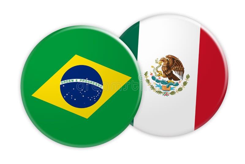 Bouton de drapeau du Brésil sur le bouton de drapeau du Mexique, illustration 3d sur le fond blanc illustration stock