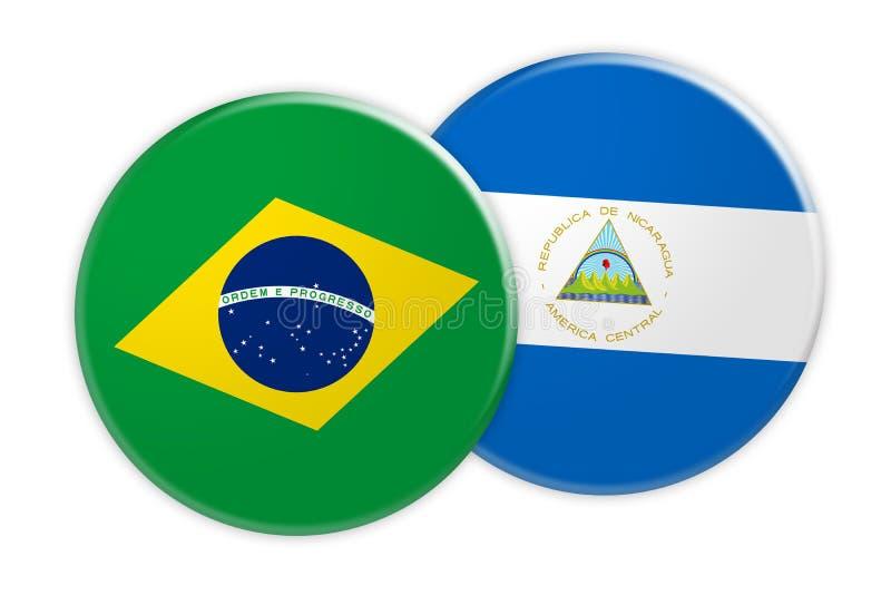Bouton de drapeau du Brésil sur le bouton de drapeau du Nicaragua, illustration 3d sur le fond blanc illustration de vecteur