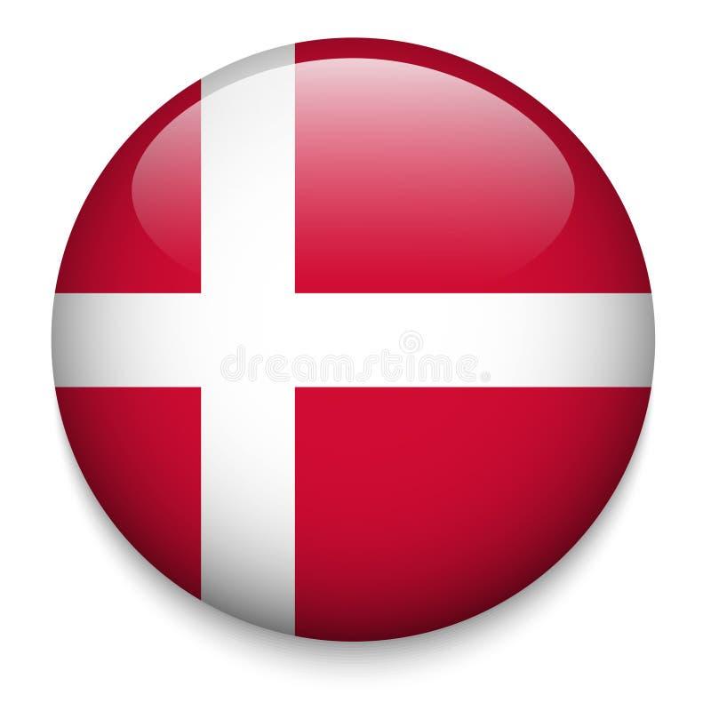 Bouton de drapeau du Danemark illustration de vecteur