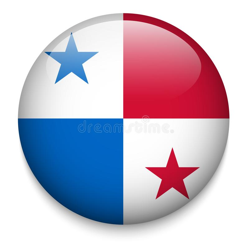 Bouton de drapeau du PANAMA illustration stock