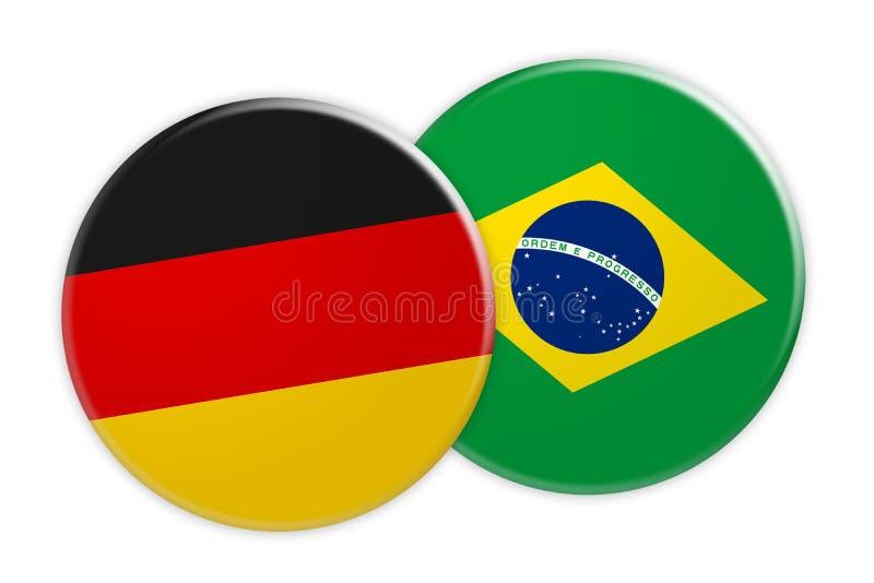 Bouton de drapeau de l'Allemagne sur le bouton de drapeau du Brésil, illustration 3d sur le fond blanc illustration de vecteur