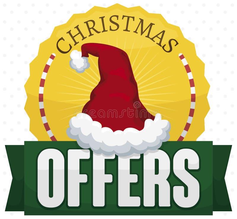 Bouton de fête avec le chapeau de Santa et le ruban pour des offres de Noël, illustration de vecteur illustration libre de droits