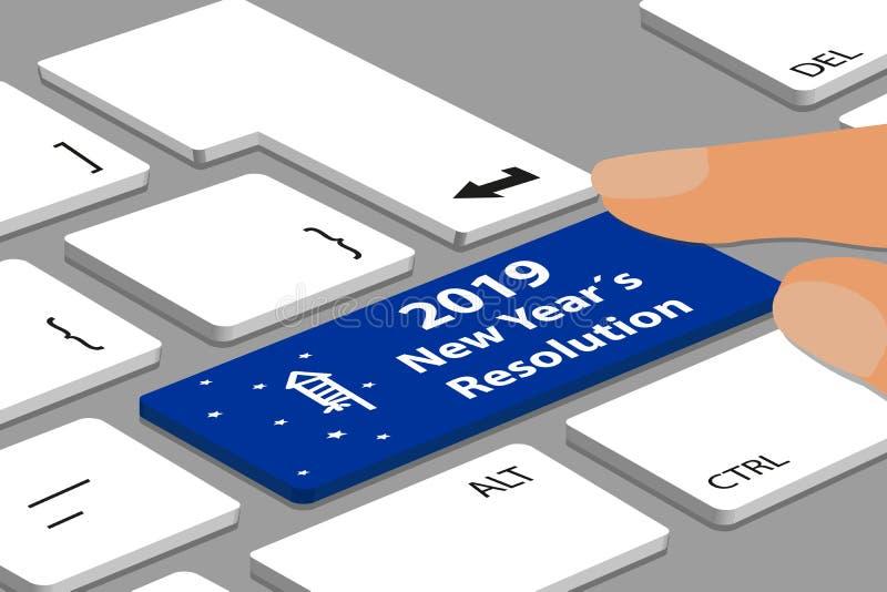 Bouton de la résolution 2019 de nouveau Yearbleu avec le pétard et les étoiles sur l'ordinateur ou l'ordinateur portable - illu illustration libre de droits