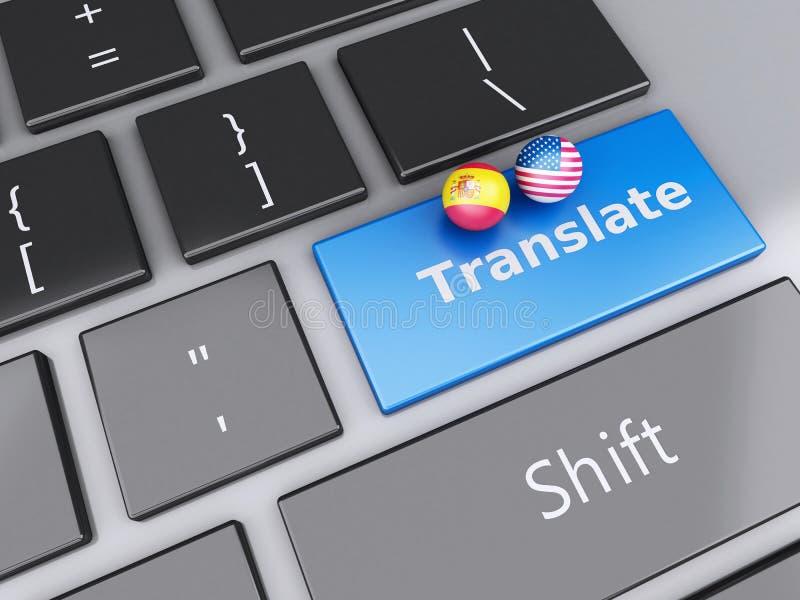 bouton de la traduction 3d sur le clavier d'ordinateur Traduction du concept illustration libre de droits