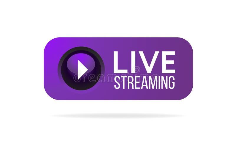 Bouton de Live Streaming, icône, emblème, label illustration de vecteur
