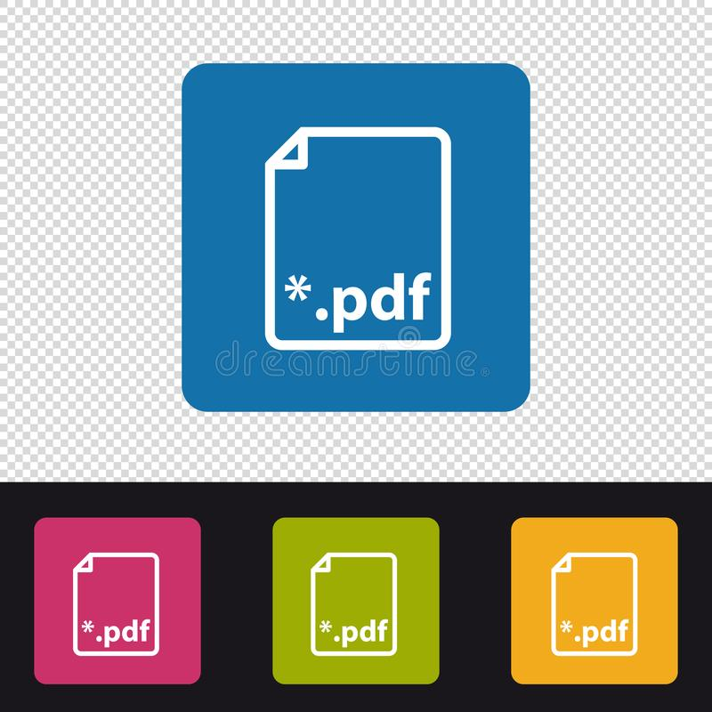 Bouton de PDF - illustration colorée de vecteur - d'isolement sur le fond transparent illustration de vecteur