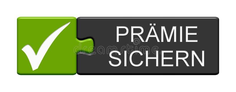 Bouton de puzzle : Obtenez l'Allemand de bonification illustration stock