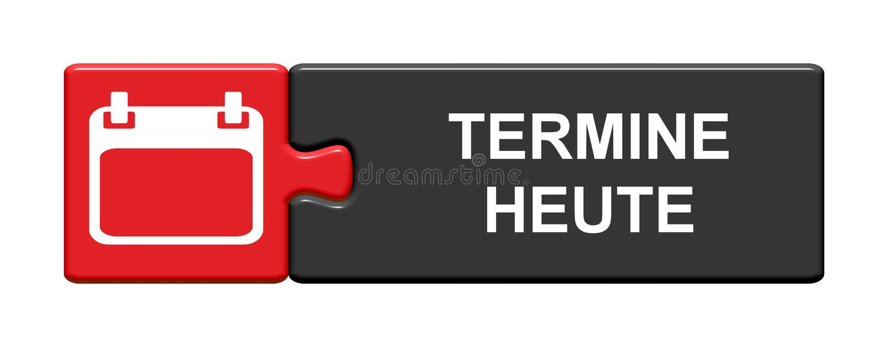 Bouton de puzzle : Rendez-vous aujourd'hui allemands illustration de vecteur