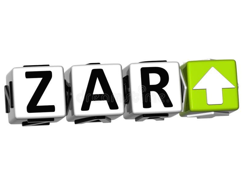 Bouton de symbole de concept de taux de ZAR de devise sur le fond blanc illustration de vecteur