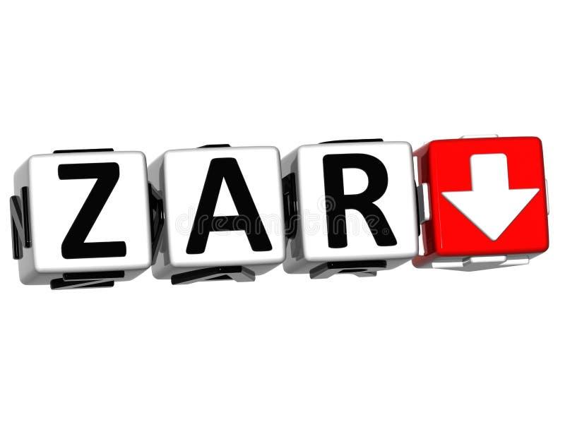 Bouton de symbole de concept de taux de ZAR de devise sur le fond blanc illustration libre de droits