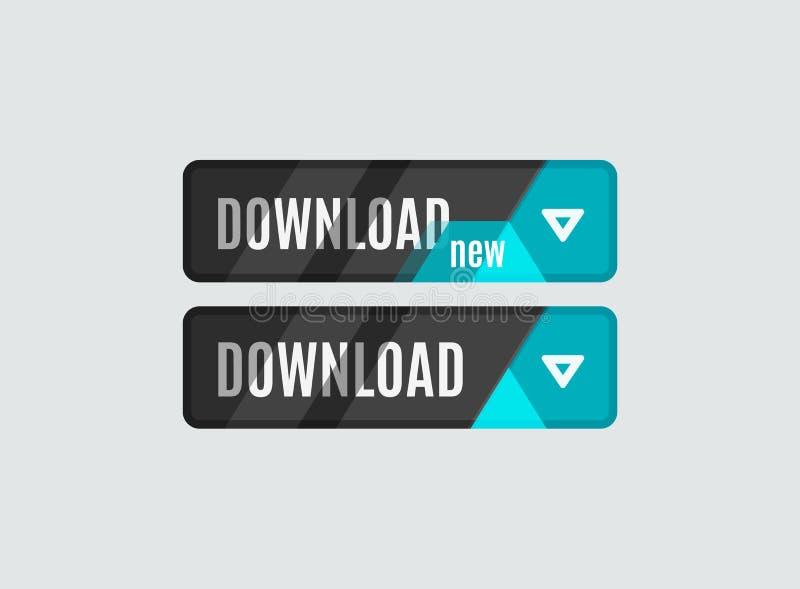 Bouton de téléchargement, conception de pointe futuriste d'UI illustration libre de droits
