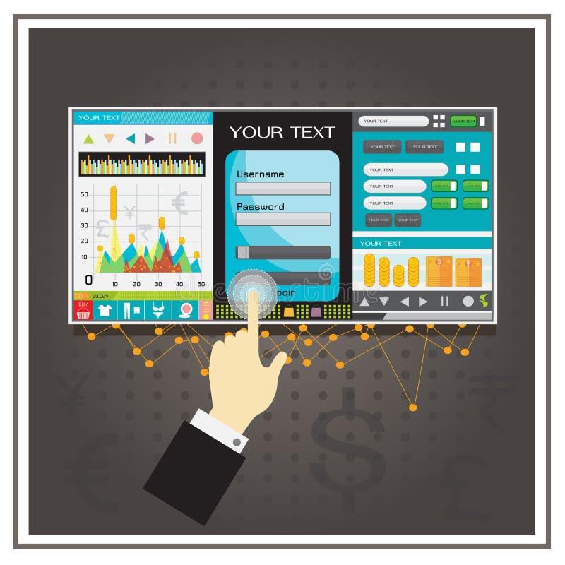 Bouton de téléchargement d'affaires de noir de vecteur de graphiques de diagramme de graphique illustration stock