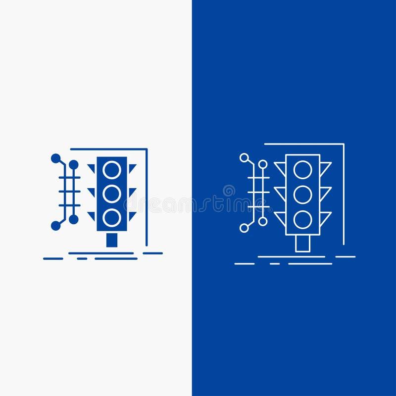 Bouton de ville, de gestion, de surveillance, intelligent, de trafic de ligne et de Glyph de Web dans la bannière verticale de co illustration libre de droits
