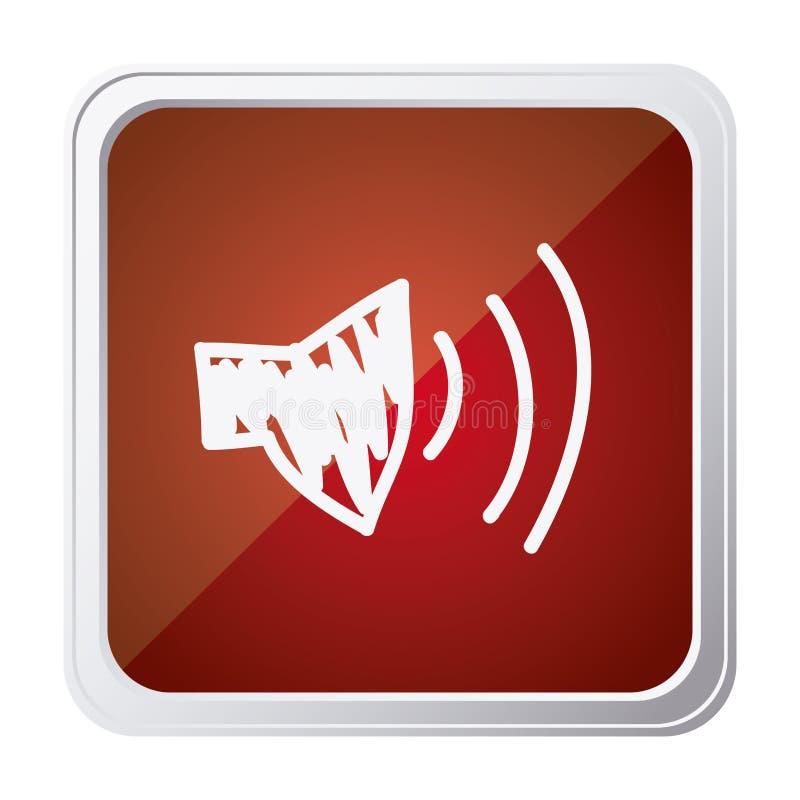 bouton de volume audio de haut-parleur avec le fond rouge et tiré par la main illustration libre de droits