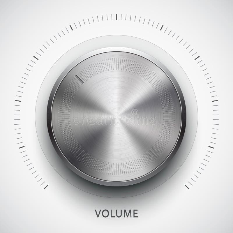 Bouton de volume de technologie avec la texture en métal illustration de vecteur