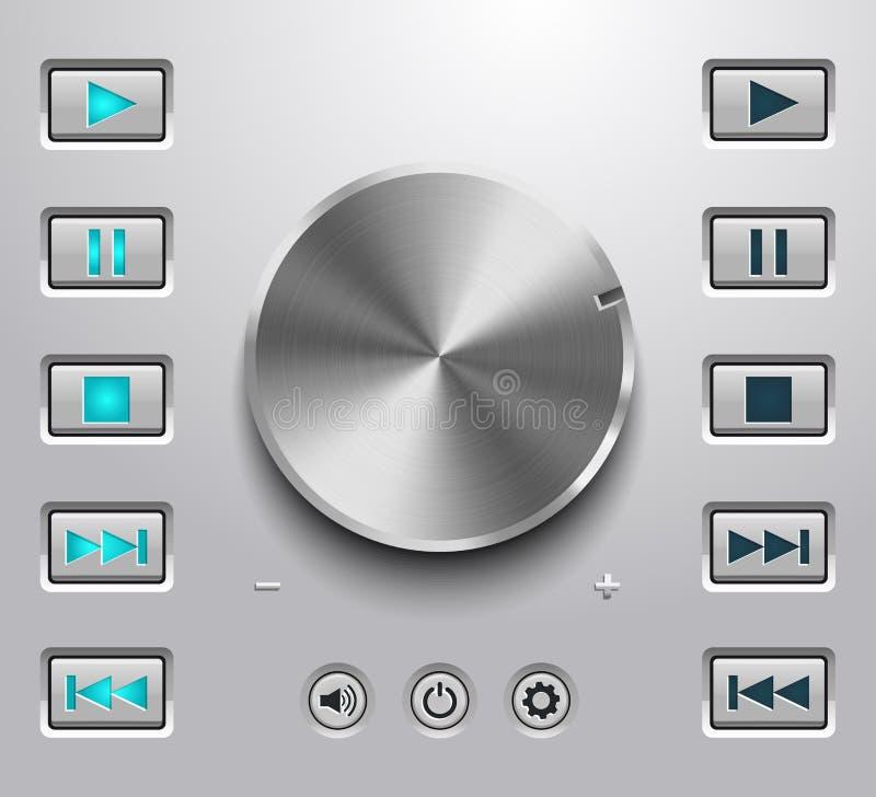 Bouton de volume en métal et établissement des boutons de volume illustration stock