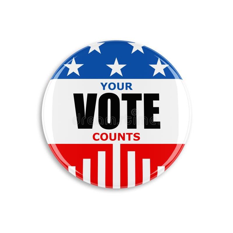 bouton de vote de 3d Etats-Unis illustration libre de droits