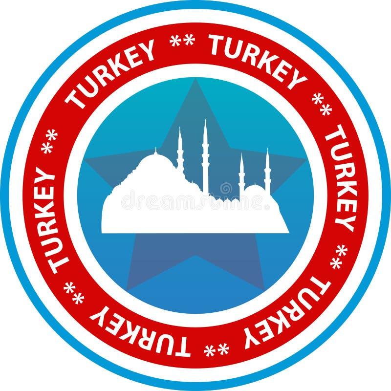 Bouton de voyage de la Turquie illustration de vecteur