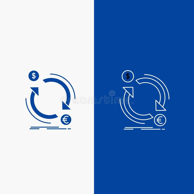 bouton de Web d'échange, de devise, de finances, d'argent, de ligne de converti et de Glyph dans la bannière verticale de couleur illustration libre de droits