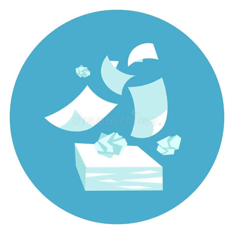 Bouton de Web d'icône d'écritures de pile de papiers sur le fond bleu rond illustration stock