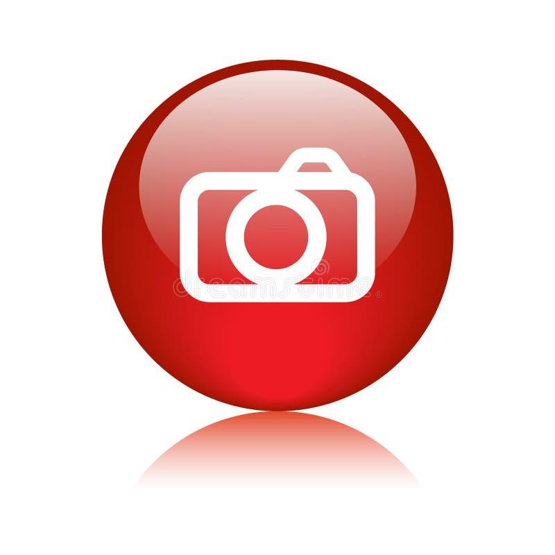 Bouton de Web d'icône d'appareil-photo de photo illustration stock