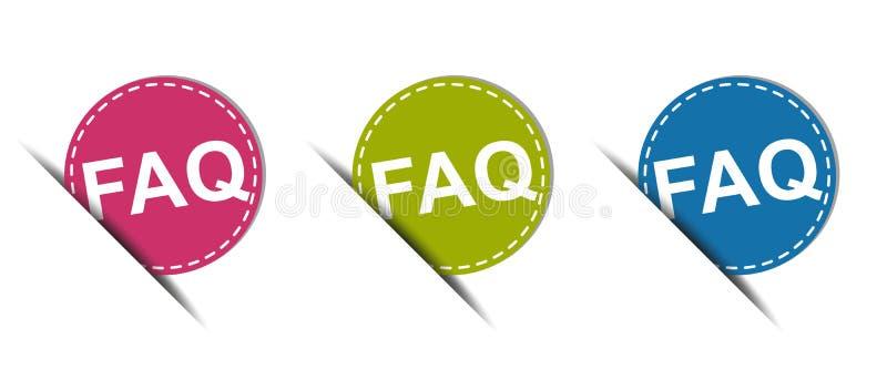 Bouton de Web de FAQ - icônes colorées de vecteur - d'isolement sur le blanc illustration de vecteur