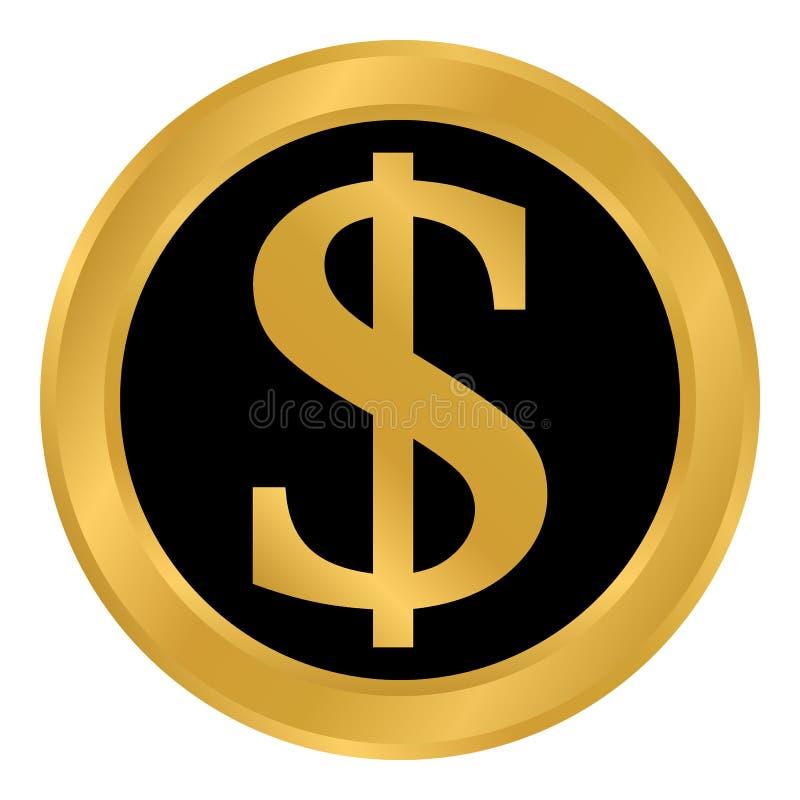 Bouton du dollar sur le blanc illustration stock