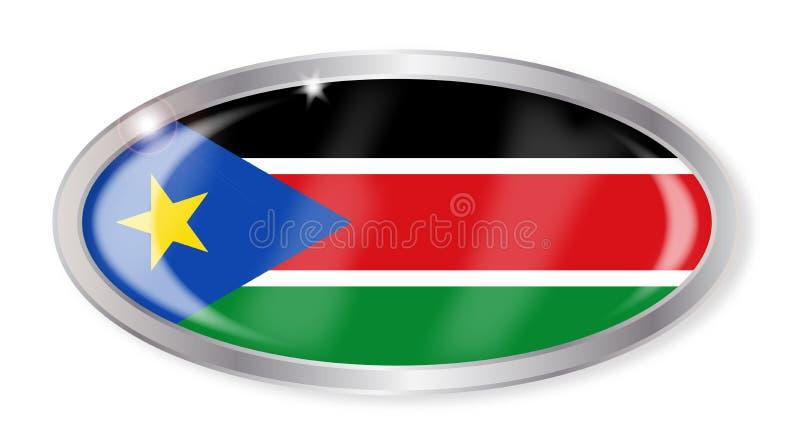 Bouton du sud d'ovale de drapeau du Soudan illustration stock