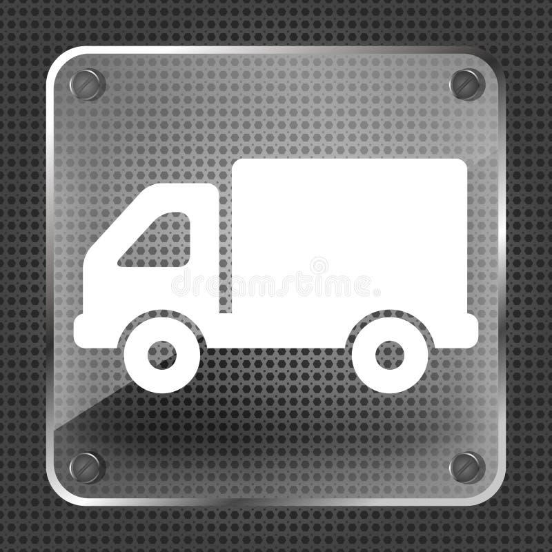 Bouton en verre d'icône de camion illustration de vecteur