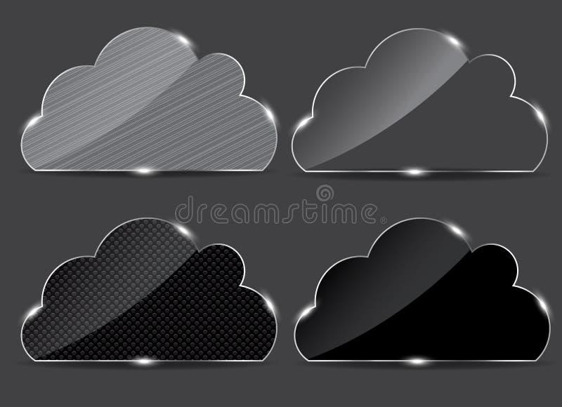 Bouton en verre de vecteur avec le graphisme de nuage illustration libre de droits