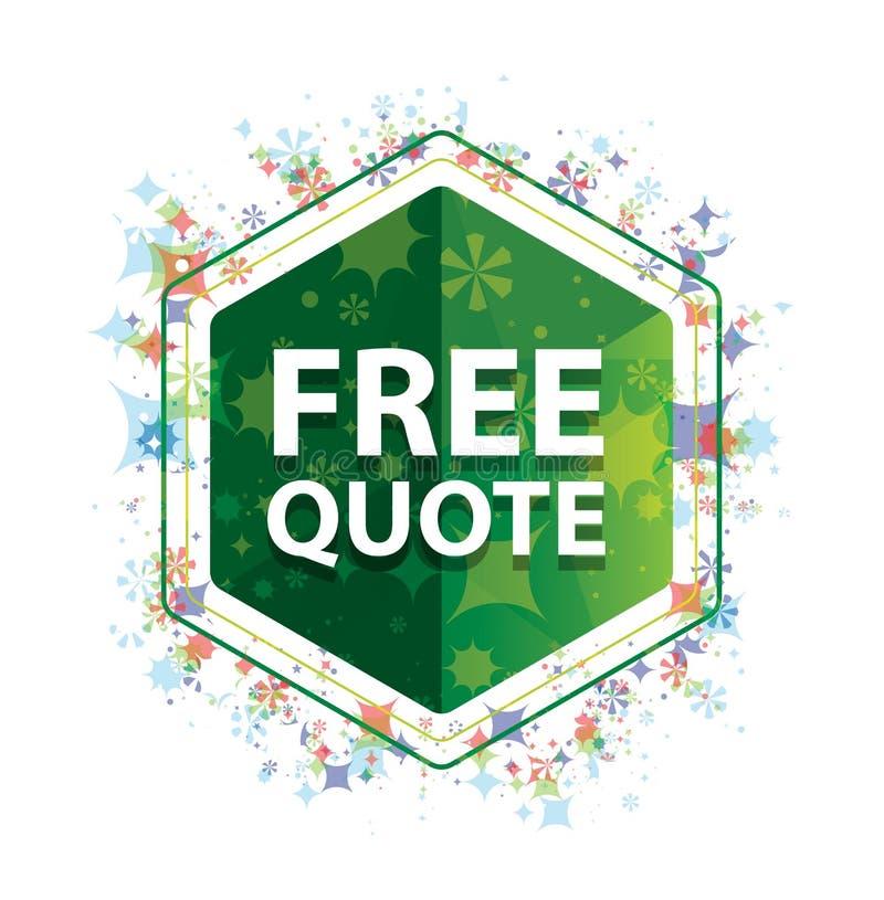 Bouton floral d'hexagone de vert de modèle d'usines de citation libre illustration stock