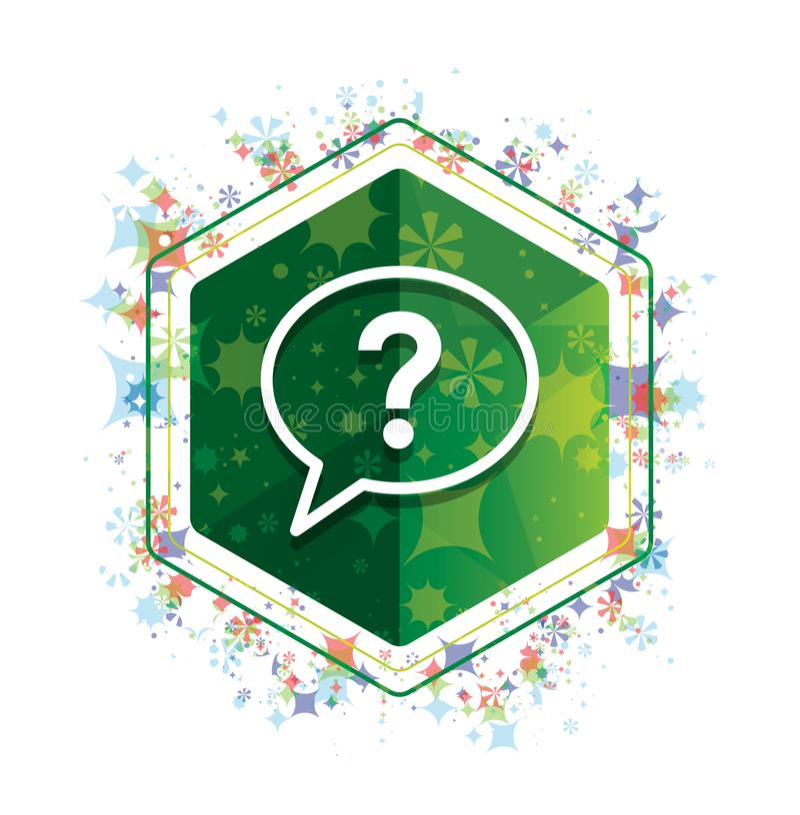 Bouton floral d'hexagone de vert de modèle d'usines d'icône de bulle de point d'interrogation illustration libre de droits